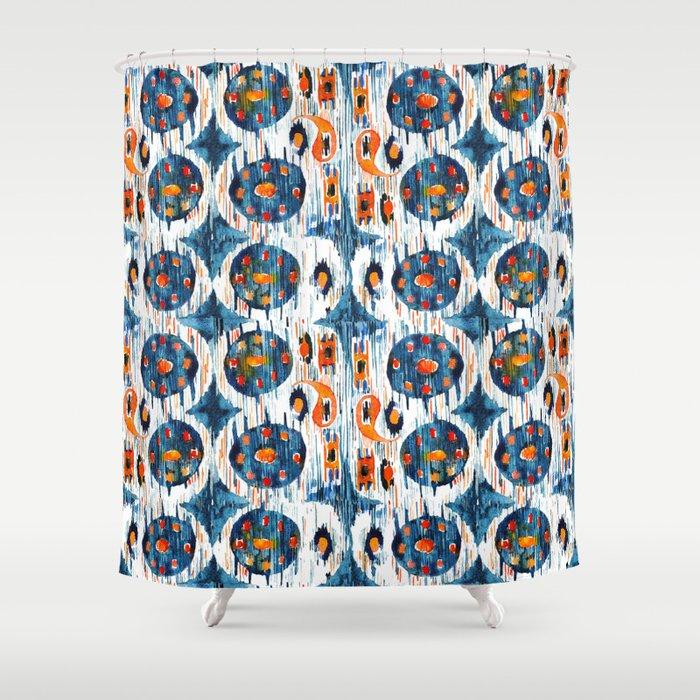 Blue Circle Balinese Ikat Print Mini Shower Curtain