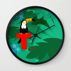 t for toucan Wall Clock