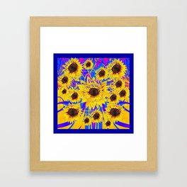 SURREAL FUCHSIA BLUEW SUNFLOWERS  MODERN ART Framed Art Print