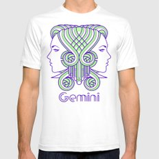 Deco Gemini White Mens Fitted Tee SMALL