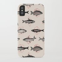 square iPhone & iPod Cases featuring Fishes In Geometrics (Red) by Florent Bodart / Speakerine