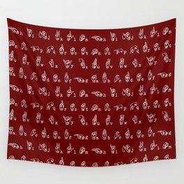 ASL Alphabet // Maroon Wall Tapestry