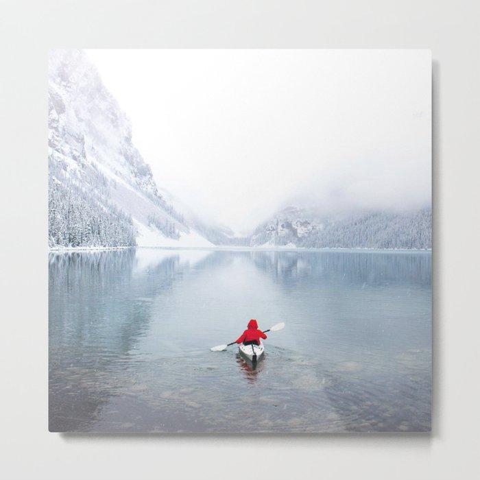 Kayaking Across A Canadian Lake Metal Print