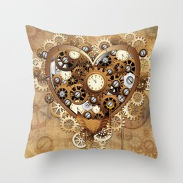 Steampunk Heart Love Throw Pillow