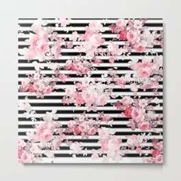 Vintage blush pink floral black white stripes Metal Print