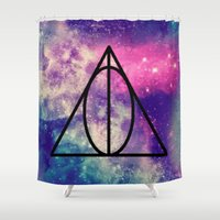 deathly hallows Shower Curtains featuring The Deathly Hallows by Abby Gracey