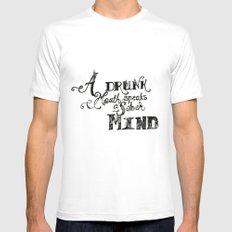 A Drunk Mouth MEDIUM Mens Fitted Tee White