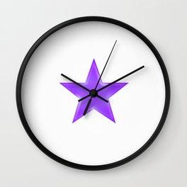 Purple Star on White Wall Clock