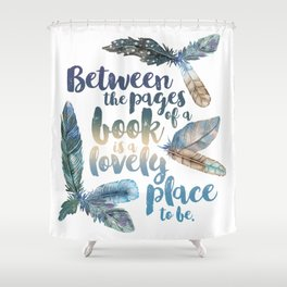Between the Pages - Feathery White Shower Curtain