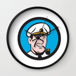 Smiling Sea Captain Smoking Pipe Circle Retro Wall Clock