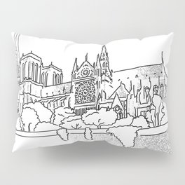 Notre Dame and Eiffel Tower travel scene Pillow Sham
