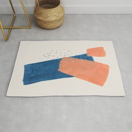 'Shards' Minimalist Modern Mid Century Colorful Navy Blue Tan Shapes by Ejaaz Haniff Rug