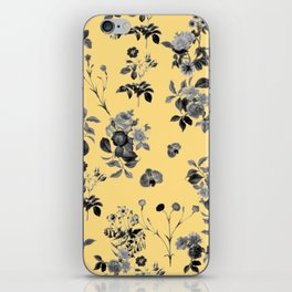 Black and White Floral on Yellow iPhone Skin