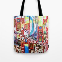 coasters Tote Bags featuring Roller Coaster by Pajaritaflora