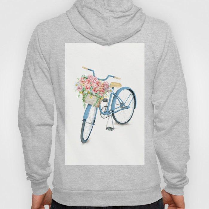 Blue Bicycle with Flowers in Basket Hoody