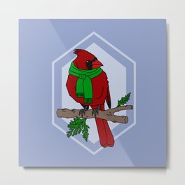 Chilly Cardinal Metal Print