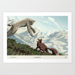 Shelter 2 - Lynx fights Fox Art Print