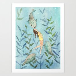 Playing with seals! Art Print