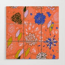 Orange Flower Pattern Wood Wall Art