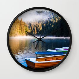 Rowboats, Misty Lake and Forest Wall Clock