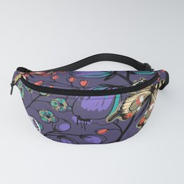 Lilac Purple Butterfly Floral Pattern Fanny Pack