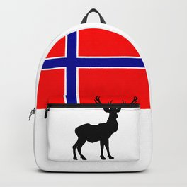 Norwegian Flag with Caribou Silhouette Backpack