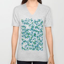 Summer Blues, Floral Pattern Unisex V-Neck