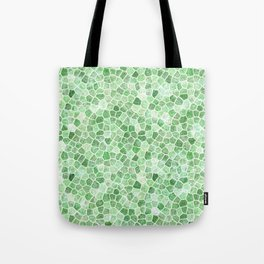 Pale Emerald and Pistachio Cobbled Patchwork Tote Bag