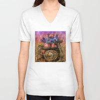 drum V-neck T-shirts featuring Drum solo by Rick Borstelman