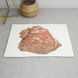 Watercolor Seashell Painting on White 6 Minimalist Coast - Sea - Beach - Shore Rug