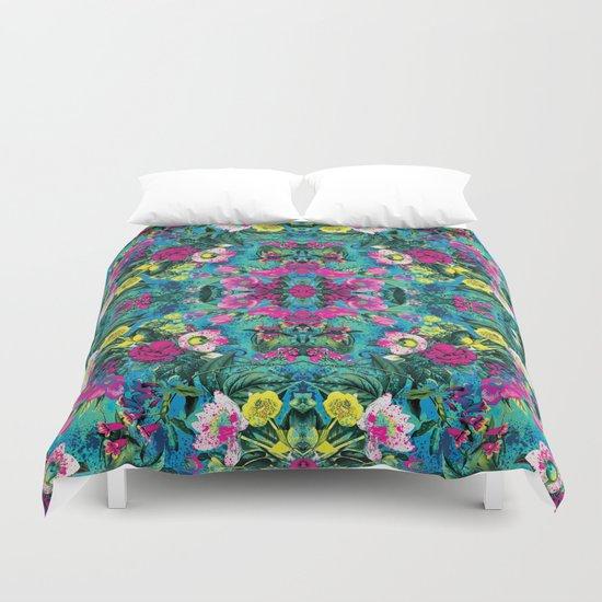 Neon Floral Duvet Cover