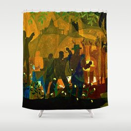 From Slavery thru Reconstruction photograph of the 135th St. WPA Public Mural NY Public Library  Shower Curtain