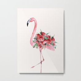 Flamingo Floral Metal Print