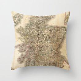 Vintage Map of Scotland (1801) Throw Pillow
