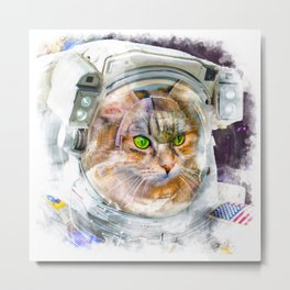 Space Cat Watercolor Metal Print