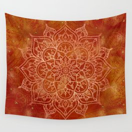 Orange Mandala Wall Tapestry