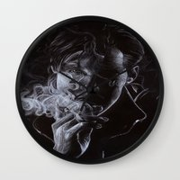 benedict cumberbatch Wall Clocks featuring BENEDICT CUMBERBATCH II by theredgrassofgallifrey