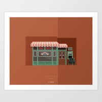 central perk Art Prints featuring Central Perk | Famous Places by Fred Birchal