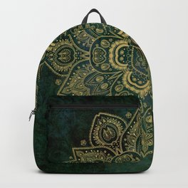 Golden Flower Mandala on Dark Green Backpack