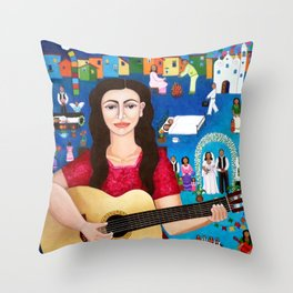 Violeta Parra playing guitar Throw Pillow