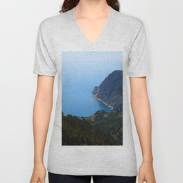 Coastal View from Hike Along Cinque Terre in Italy Unisex V-Neck