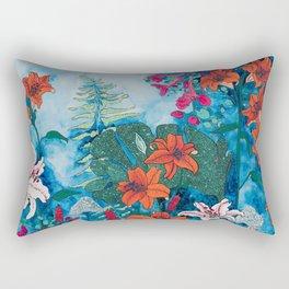 Blue Jungle of Orange Lily and Pink Trumpet Vine Floral Rectangular Pillow