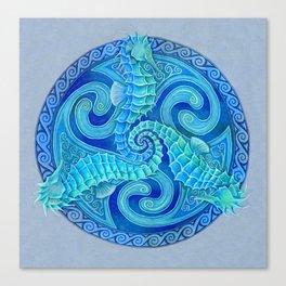 Seahorse Triskele Celtic Blue Spirals Mandala Canvas Print