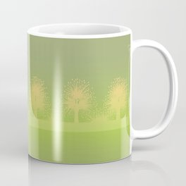rows of spring trees in a mist Coffee Mug