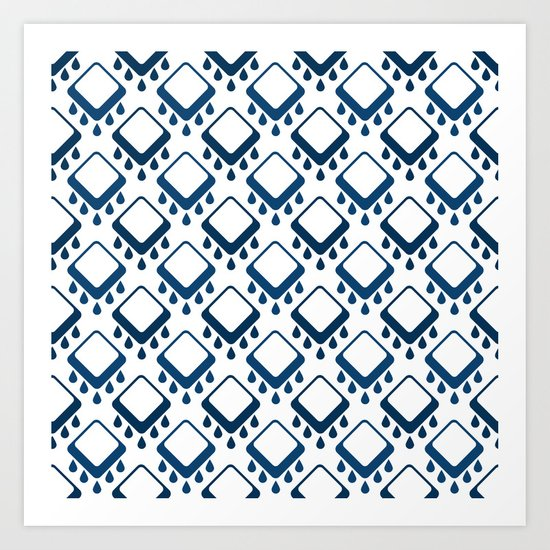 Abstract colorful geometric pattern .Blue and white . Art Print