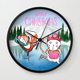 Merry Christmas from Cat and Fox Wall Clock