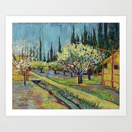 Orchard Bordered by Cypresses Art Print
