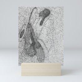 Saxophonist / Black and White Mini Art Print