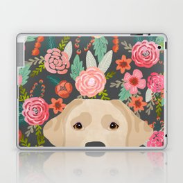 Yellow Lab dog portrait labrador retriever dog art pet friendly florals floral Laptop & iPad Skin