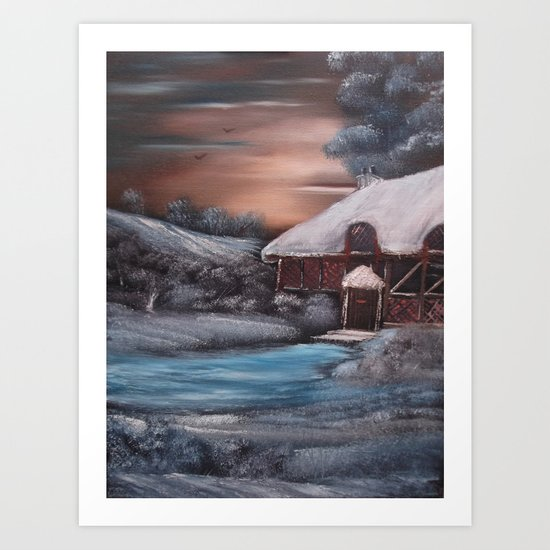 Chocolate Box Cottage in Winter Art Print